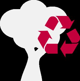 Arbol y símbolo de reciclaje