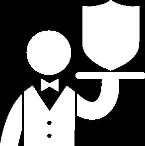camarero que trae un escudo en la bandeja
